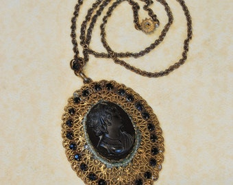 Antique Necklace - Antique 1880's Vulcanite Carved Cameo Necklace