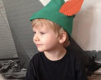 Feathered woodsman hat. Robin Hood Hat. Children's dressup hat. Feathered elf hat .Boys gift dressup hat. Green orange elf hat.