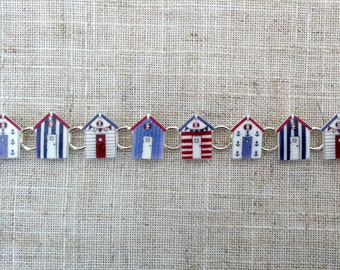 Beach huts - Beach house - Charm bracelet - Summer bracelet - Nautical bracelet - Blue bracelet - Gift for her - Teen gift - Seaside