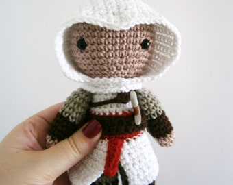 Amigurumi Altair, Assassin's Creed crochet toy, Altair plushie, Altair stuffed toy