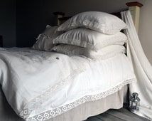 """Antique white pure linen duvet/quilt/doona cover """"Provincial Living"""". Queen and King sizes available. Stonewashed linen bedding"""