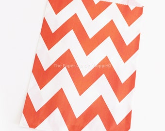 Chevron Favor Bags, 12 Orange Chevron Gift Bags, Popcorn Bags, Cookie Bag, Candy Buffet Bags Candy Bag, Wedding, Baby Shower, Birthday Favor