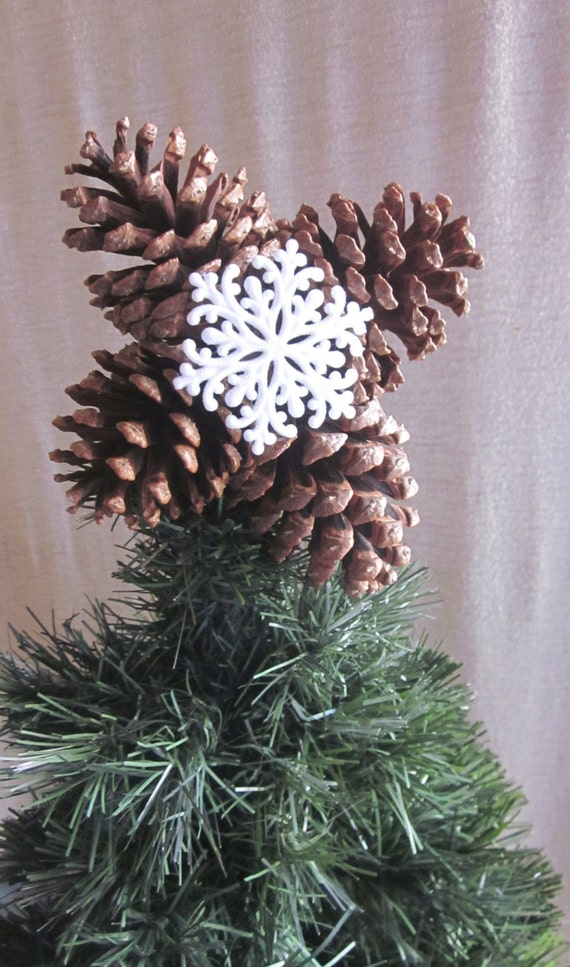 Items similar to christmas tree topper from large pine for Large pine cones