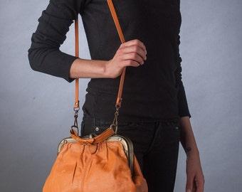 90s Vtg Orange Leather Handbag with Metal Turn Lock