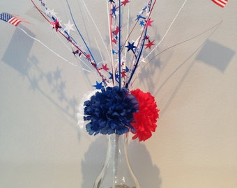 Patriotic Centerpiece - 4th of July Decoration - Bud Vase - Blue, White & Red