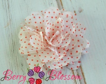 2 pc White w/ Red Polka Dot Chiffon Flower 3 inch - flower accessory - headband flower - 4D flowers - chiffon wedding flowes