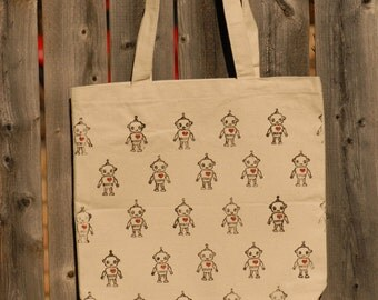 Hand-stamped Canvas Robot Hearts Tote
