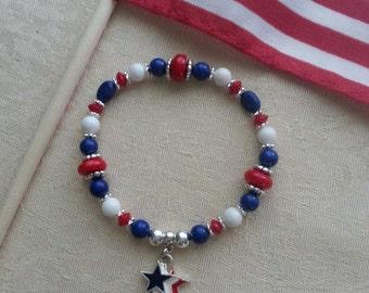 PATRIOTIC BRACELET with Red, White, & Blue STARS charm (#19013)