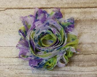 "Trim - Multi color ""Lavender, Lime and Blue"" Shabby Chiffon Flower -  shabby flower trim, shabby chiffon rose trim, shabby rosette"