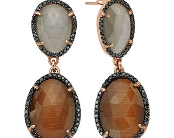 New fashion. Different colors of stones in one pair . 925 Silver double drop earrings.