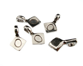 Square Shaped Pendant Bails, Available in Multiple Finishes QTY:20 Sqaure Shaped Pendant Bails