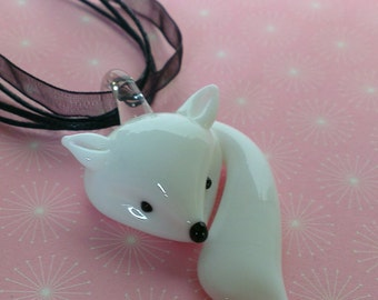 "Arctic fox necklace - winter white fox pendant necklace on organza or 18"" or 24"" silver plated chain snow fox gift uk"