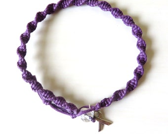 Anklet Purple Awareness Pancreatic Cancer Alzheimers Dementia Crohns Disease Domestic Violence Foster Care