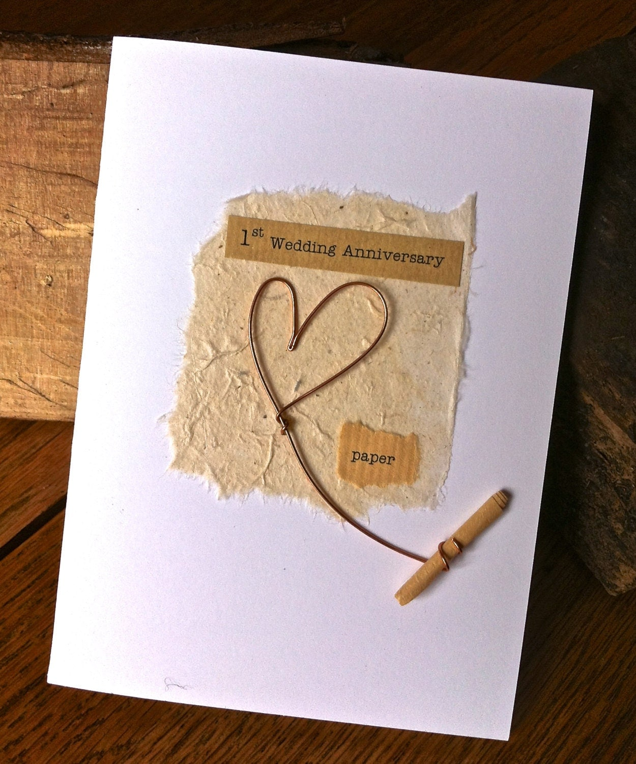 St wedding anniversary card paper rustic wire heart with