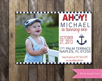Nautical Birthday Invitation, Nautical Invitation, Sailboat Invitation, Anchor Invitation, Nautical Party Invitation, Digital Printable