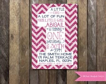PRINTABLE  First Birthday Invitation - 1st Birthday Invitation Pink Glitter Fully Customizable -  Girls Boys Birthday Party 4x6 or 5x7