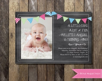 Chalkboard First Birthday Invitation with Picture, 1st Birthday Invitation, Flag Banners, Girls, Boys, Birthday Party, Chalkboard Invitation