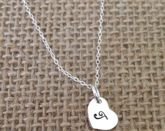 Tiny Heart Necklace Heart Necklace Tiny Heart Charm Tiny Heart Pendant Sterling Silver Heart Necklace Silver Heart Necklace Dainty Heart