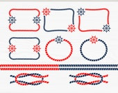 Clip art set of 10, Nautical frames in blue, red colors with rope and rudder (APL02)