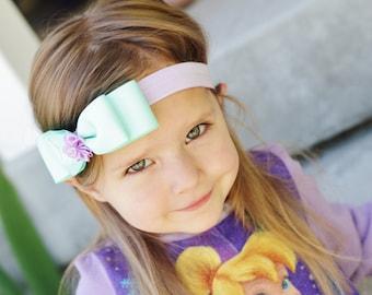 aqua and lavender baby girl headband, baby hair bow,elastic headband, baby head band, hair bow, hairbow
