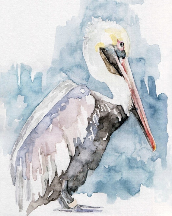 Pelican painting print from original by thecolorfulcatstudio for Fish out of water watercolor