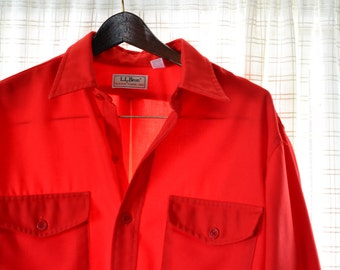 LL Bean Men's Bright Red Allgash Flannel Shirt L Vintage 1970s 100% Polyester Bright Red Buttons Box Pleat Flap Patch Pockets Large 16 16.5