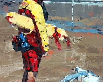 Limited edition print, original art, impressionist painting, beach house art, modern art, palette knife painting, wall art, 'The Lifeguard'.