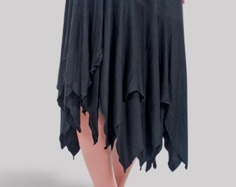 Plus Size Skirt for Women, Bobo Clothing | Handkerchief Style Skirts in Black | 10% Spandex | Plus 1x 2x 3x 4x
