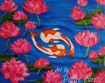 Koi and Lotus 10x10 Fine Art Print
