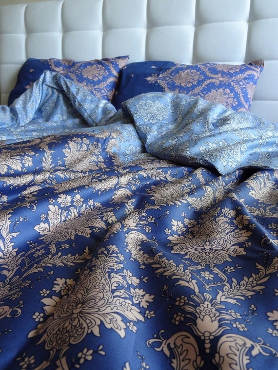 Twin Twin Xl Duvet Cover Full Set Blue Damask Pattern Cotton