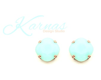 MINT ALABASTER Discontinued 12mm Stud Earrings Swarovski Elements Cushion Cut *Pick Your Metal *Karnas Design Studio *Free Shipping*