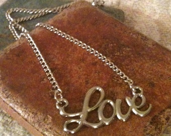 "Silver Plated Cursive ""Love"" Charm Necklace"