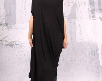 Black extravagant asymmetrical tunic dress, plus size tunic, oversized dress, sleeveless dress,  - UM-FL001-FL