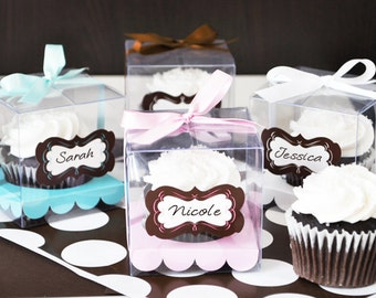 Clear Cupcake Boxes - Cupcake Box Insert - Clear Cupcake Favor Boxes Individual Cupcake Boxes Single Mini Cupcake Box (EB2201) - set of 12