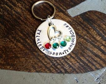 Handstamped Keychain Personalized Keychain Nana Keychain Grandma Keychain Birthstone Keychain Family Keychain Gift for Mom  Mom Keychain