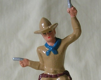 Rootin' Tootin' Wild West Cowboy, Standard Gauge train layout, hand-painted reproduction of vintage toy figure