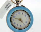 Guilloche Ladies Silver Pocket Watch with Blue Enamel