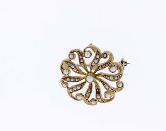 14K Rose Gold Swirling Flower Convertable Brooch/Pendant