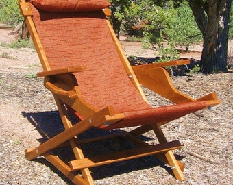 "Alder Wood Sling Chair with Arm Rests, Headrest and Handle in Rust Red Outdoor Fabric ""Cinnabar Prospector"" Deck Chair - Handmade in USA"