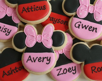 Personalized Minnie and Mickey Cookie Favors