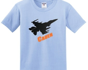 Personalized Jet T-shirt for boys, youth plane tee with name