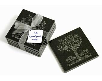 Black Granite coasters Peace Tree design - set of four - Laser engraved.