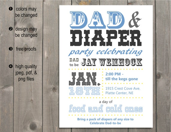 Dad Baby Shower Invitation Announcement / Dad-Chelor Party / Beer and ...