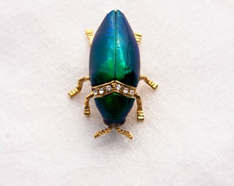 Authentic Green Jewel Beetle and Rhinestone Gold Brooch- Real Beetle!
