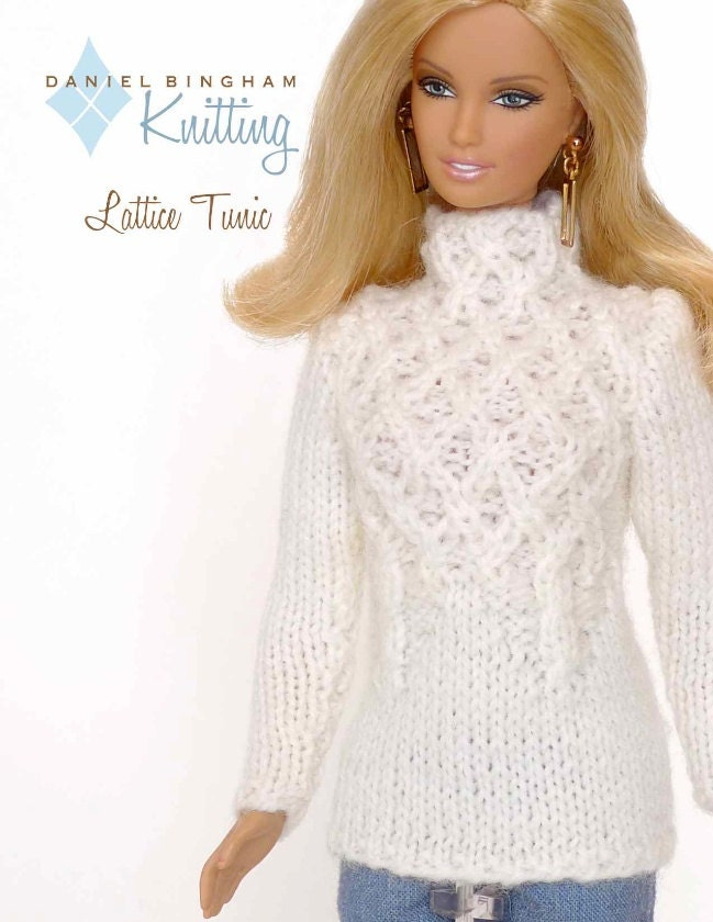 Knitting pattern for 11 1/2 doll Barbie: Lattice Tunic