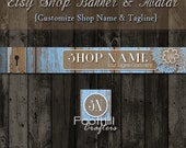 Etsy Banner and Matching Avatar, Premade, Blue Reclaimed Old Wood, Skeleton Key Hole, Flowers, Customize Shop Name, Graphic Design, Branding