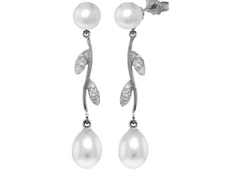 10.02 Ct 14k Solid Gold Magnifique Pearl Diamond Earrings (Yellow Gold, White Gold, Rose Gold)