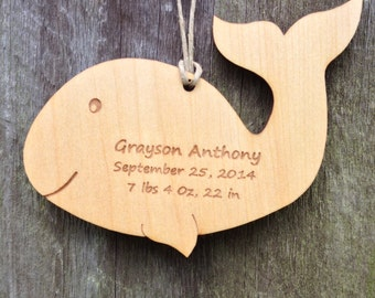 Baby Birth Information Keepsake: Whale Personalized Baby Gift/Personalized Baby Ornament