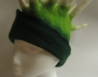Green and white spiky felted wool hat