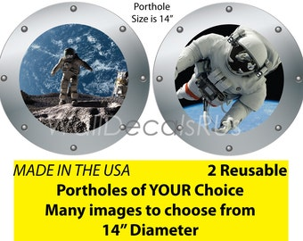 Cheap Reusable Fabric Outer Space Wall Decals,Space Decals,Space Wall Stickers,Space Marine Decals,Porthole Window,Wall Clings,S12S14